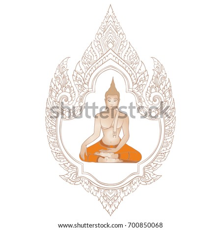 Decorative Ethnic Thai Frame Lord Buddha Stock Vector 700850068 ...