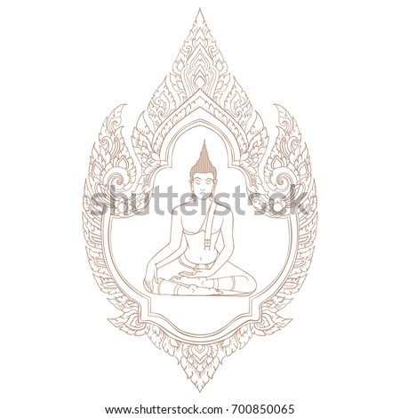 Decorative Ethnic Thai Frame Lord Buddha Stock Vector HD (Royalty ...