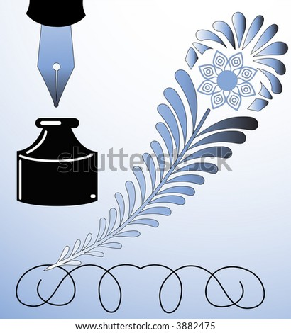 decorative feather quill vector with fountain pen and inkwell see series - stock vector