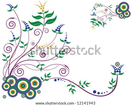 Decorative floral background designed in Illustrator.  Vector format can be enlarged to any size. - stock vector