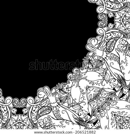 Decorative floral background, illustration with gorgeous ornamental frame.