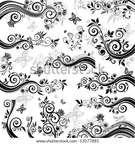 Decorative floral borders - stock vector