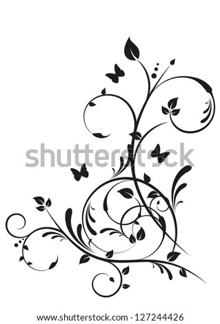 Decorative Floral Design with Butterflies - stock vector