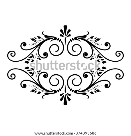 Decorative floral element with stylized leaves. Black graphic horizontal frame isolated on white background. Contour black frame. - stock vector