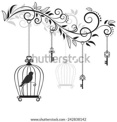 Decorative floral element with the bird in the cage and old keys. Vector Illustration  - stock vector