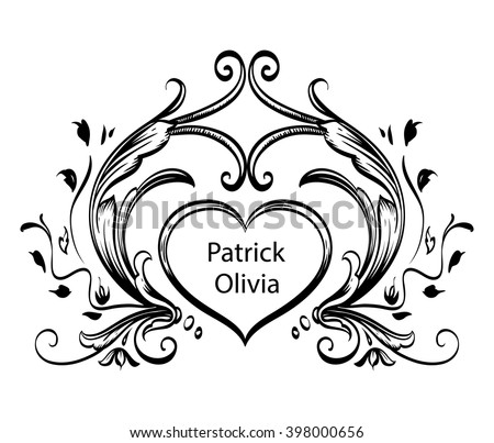 Decorative floral frame with stylized leaves. Horizontal frame drawing on a tablet. Contoured black frame on transparent background. - stock vector