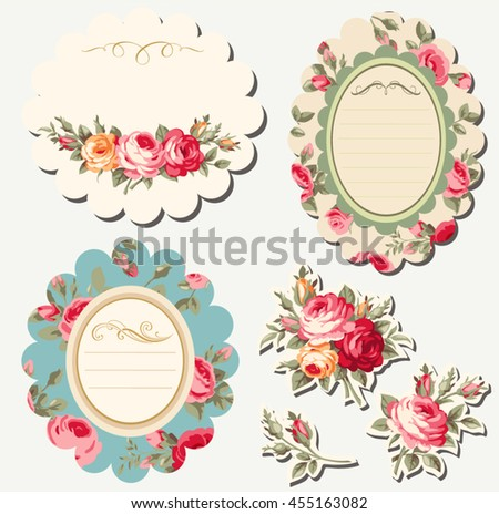 Decorative floral scrapbook frames with vintage roses. Vector set - stock vector