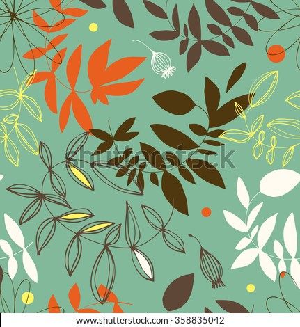 Decorative floral seamless pattern. Vector summer background with leaves and branche - stock vector