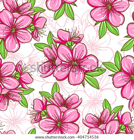 Decorative floral seamless pattern with cherry blossom - stock vector