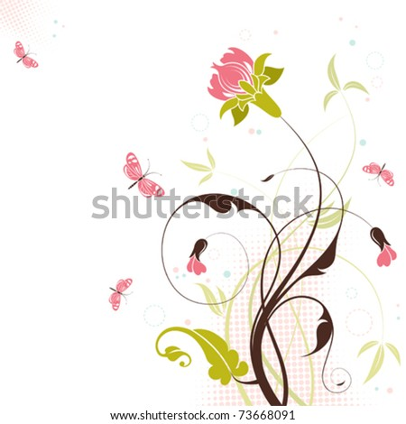 Decorative Floral theme with butterfly, vector illustration - stock vector