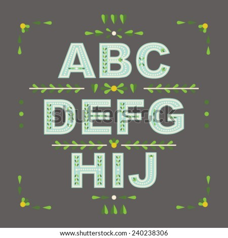 Decorative floral vector font. Letters A-J in blue - stock vector