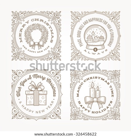Decorative flourishes line art frame with christmas greetings and symbols - vector illustration - stock vector