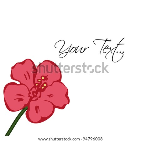 decorative flower hibiscus greeting background card - stock vector