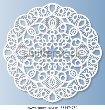 Decorative flower, snowflake, mandala, embossed pattern, lace pattern, arabic ornament,indian ornament, 3D, vector  - stock vector