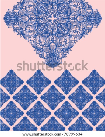 Decorative flowered ornament and pattern - stock vector