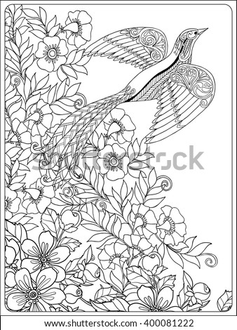 Decorative Flowers And Birds Coloring Book For Adult Older Children Page