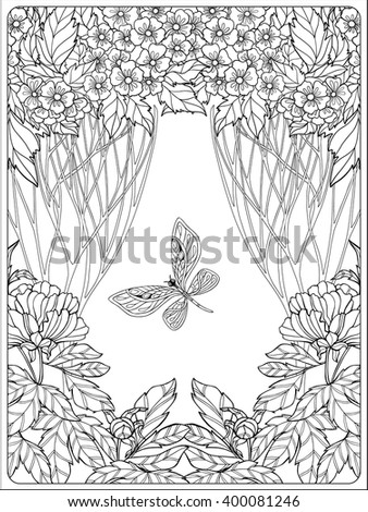 Decorative flowers, birds and butterflies. Coloring book for adult and older children. Coloring page. Outline drawing. Vector illustration. - stock vector