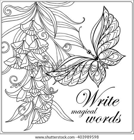 Decorative Flowers Birds Butterflies Coloring Book Stock Vector 403989598