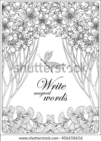 Decorative flowers, birds and butterflies. Coloring book for adult and older children. Coloring page with space for text. Outline drawing. Vector illustration. - stock vector