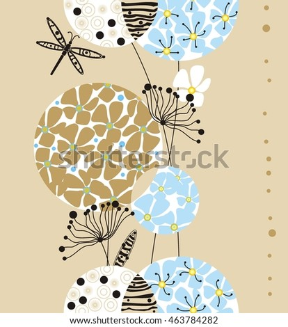 Decorative flowers in circles white, blue, black, yellow and beige with leaves a seamless pattern on a light beige background.