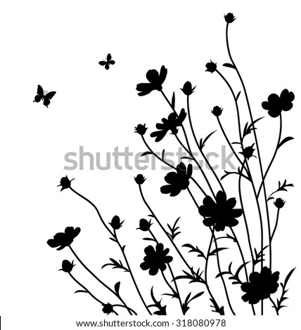 decorative flowers silhouette cosmos bipinnatus - Decorative Flowers