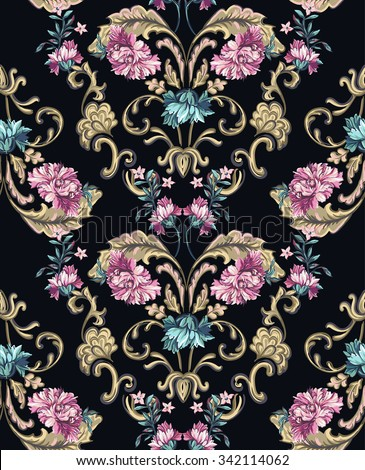 decorative flowers with barocco pattern on a dark background