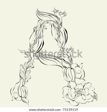 Decorative font, Letter A - stock vector