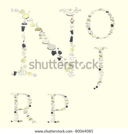 Decorative font with food element. Letters N, O, J, P, R - stock vector