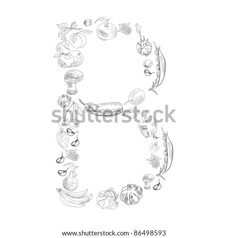 decorative letter b decorative font fruit vegetable letter b stock vector 21329