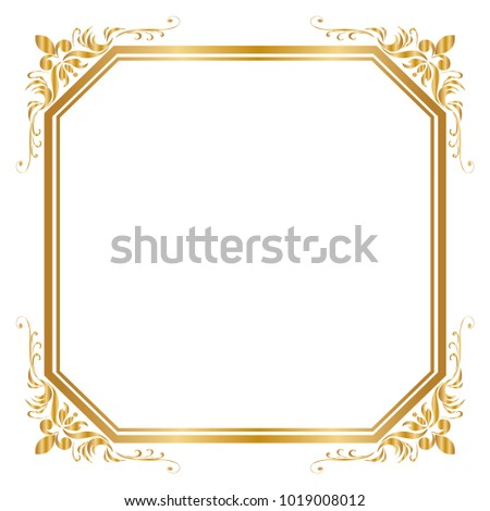Decorative Frame And Border For Design Of Birthday Greeting Card Wedding Golden