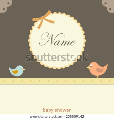 decorative frame baby card with birds - stock vector