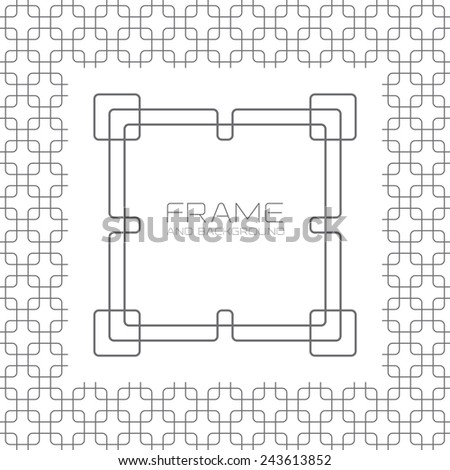 Decorative frame, labels or badges on background with simple seamless patterns. Vector graphic design templates. - stock vector