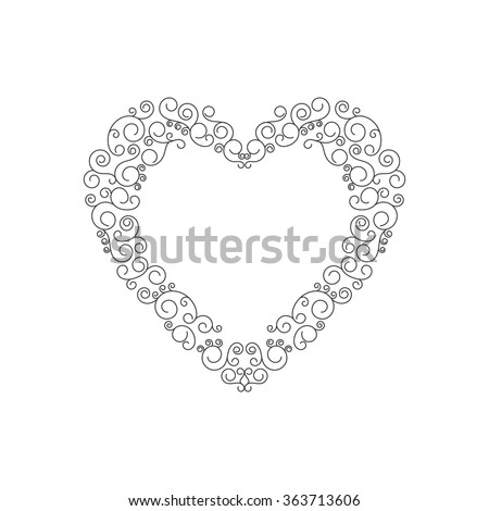 Decorative frame of heart. Shape of heart black and white. Vector illustration - stock vector