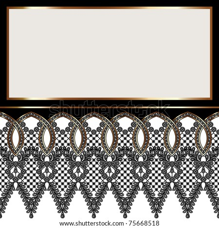 Decorative frame with black lace - stock vector