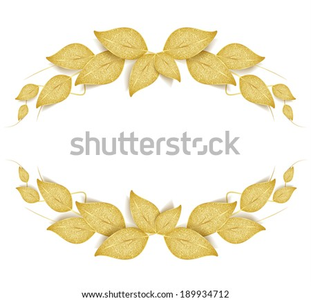 Decorative frame with golden leaves  - stock vector