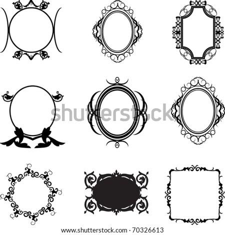 decorative frames set - stock vector