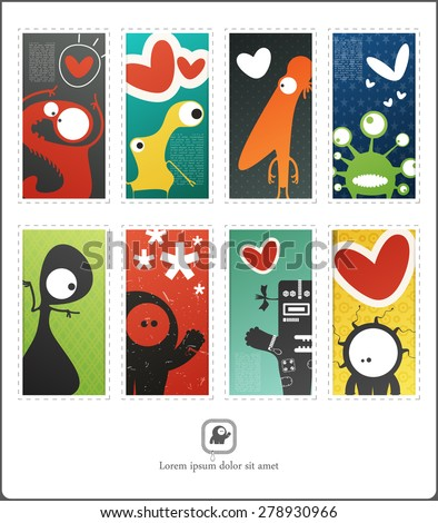 Decorative funny card with cute monsters in love. Valentine day card. Vector illustration - stock vector