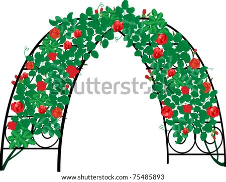 Decorative garden arch with red roses