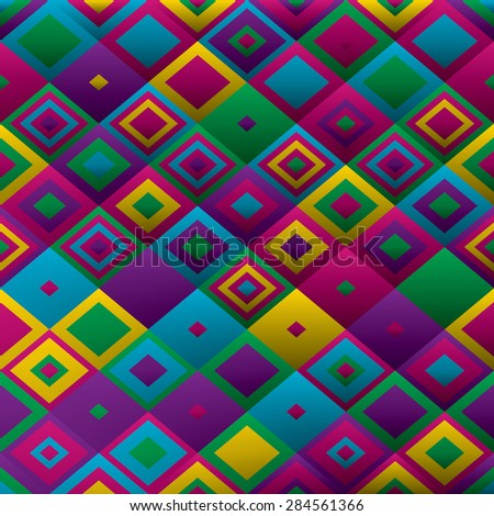 Decorative geometric colorful squares. Seamless pattern. Vector illustration - stock vector