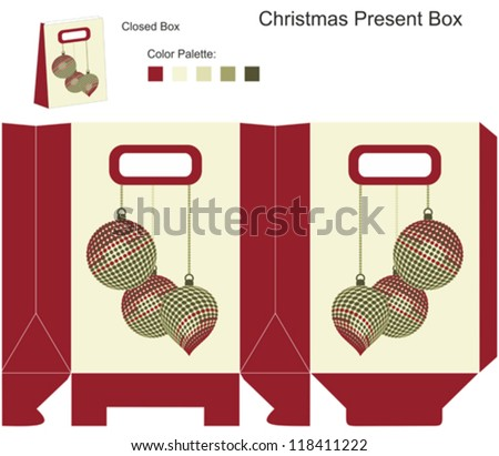 Decorative gift box with Christmas balls - stock vector