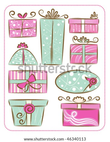 decorative gift boxes - stock vector