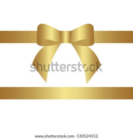 decorative gold bow two horizontal gold ribbons. Vector bow for page decor