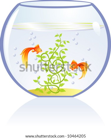 Decorative gold fishes - stock vector