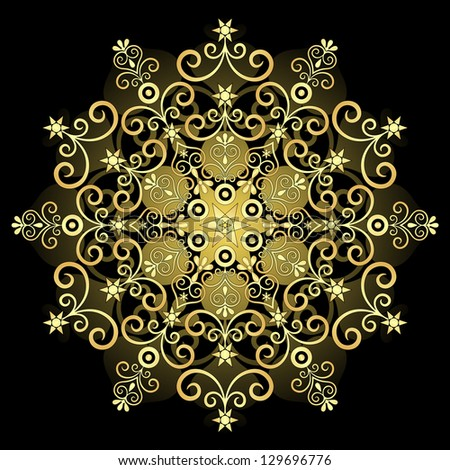 Decorative gold vintage round pattern on black (vector) - stock vector