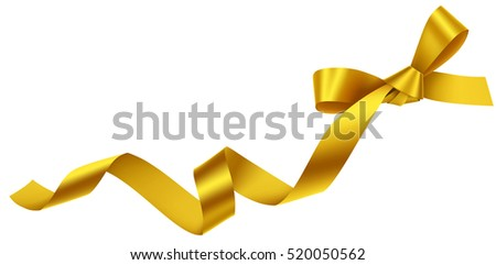 Decorative golden bow isolated on white. Vector yellow bow with ribbon