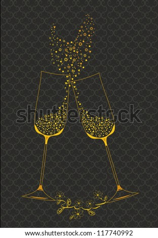 Decorative golden goblets of wine. ?ditable vector - stock vector