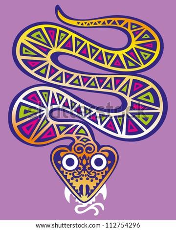 Decorative golden snake. vector - stock vector