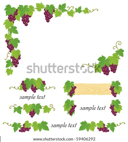 decorative grape illustration - stock vector