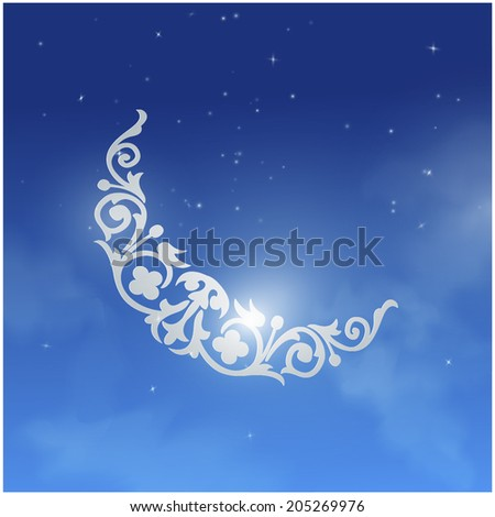 Decorative graphic of Ramadan moon - stock vector
