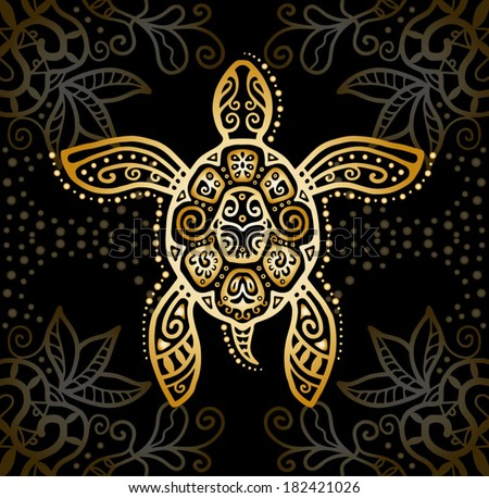 Decorative graphic turtle, tattoo style, tribal totem animal, vector illustration, isolated elements, gold on black lace pattern - stock vector